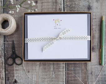 Correspondence cards with champagne flutes