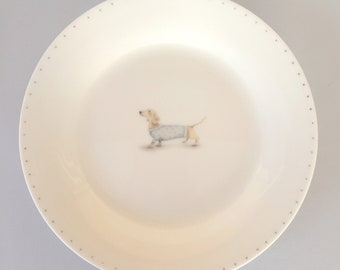 Bone china side plate with Dachshund. Free P&P