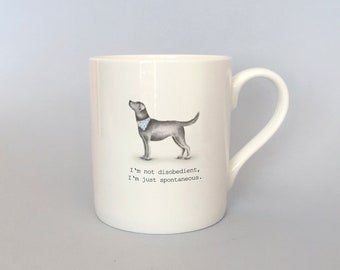 Bone china black lab mug.  Free P&P