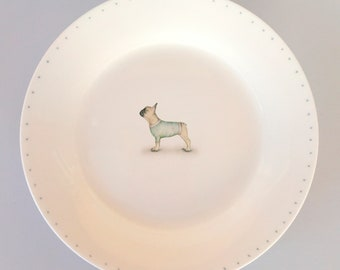 Bone china side plate with French bulldog. Free P&P
