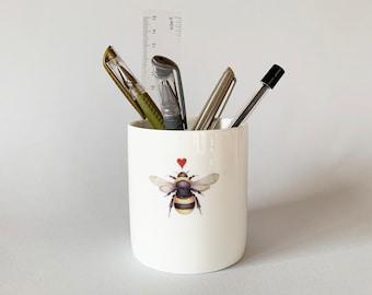 Bone china pen pot.  Free P&P