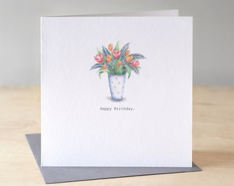 Floral birthday card. Free P&P