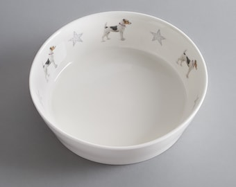 Bone china dog bowl with Jack Russell. Free P&P