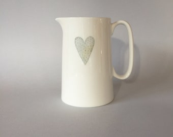 1 pint Bone china heart jug.   Free P&P
