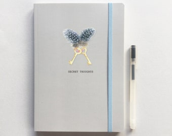 A5 lined luxury Notebook. Secret thoughts. Free P&P