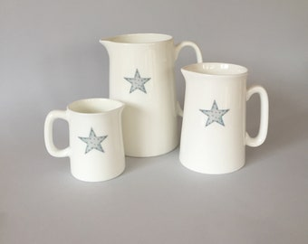 Bone china star jug.   Free P&P