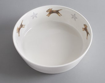 Border terrier bone china dog bowl. Free P&P