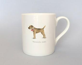Bone china border terrier mug.  Free P&P