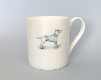 Bone china Bull terrier mug.   Free P&P