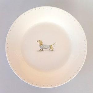 VINTAGE wales ceramic orange plate with boxer dog
