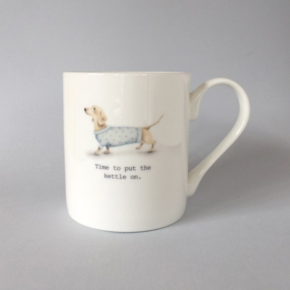 Bone china dachshund mug.  Free P&P