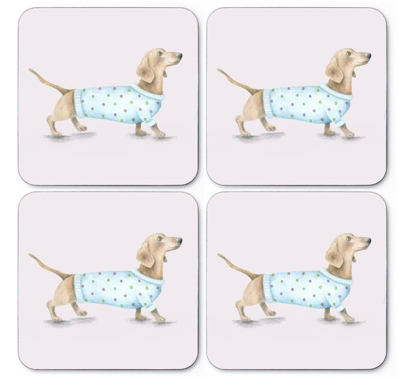 Dog coaster set. Free P&P