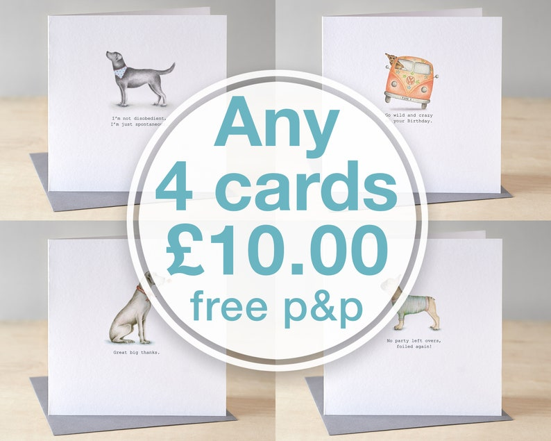 Choose any four greeting cards for ten pounds. Luxury greeting image 0