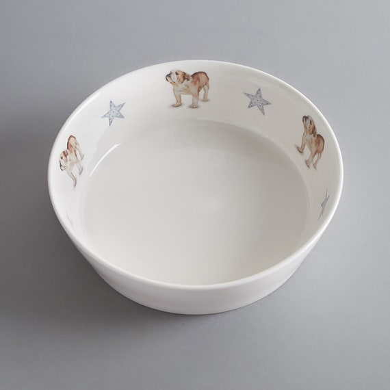 Bone china dog bowl with English bulldog