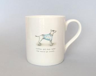 Bone china Bull terrier mug.   Free P&P
