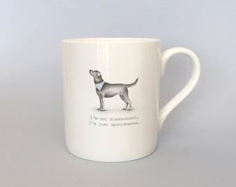 Bone china black lab mug.  Free P&P