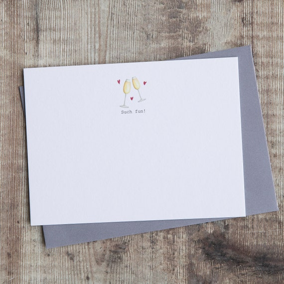 Party thank you notes Wedding thank you cards. Thank you cards with champagne flutes saying /'Such fun!/' Boxed set of correspondence cards