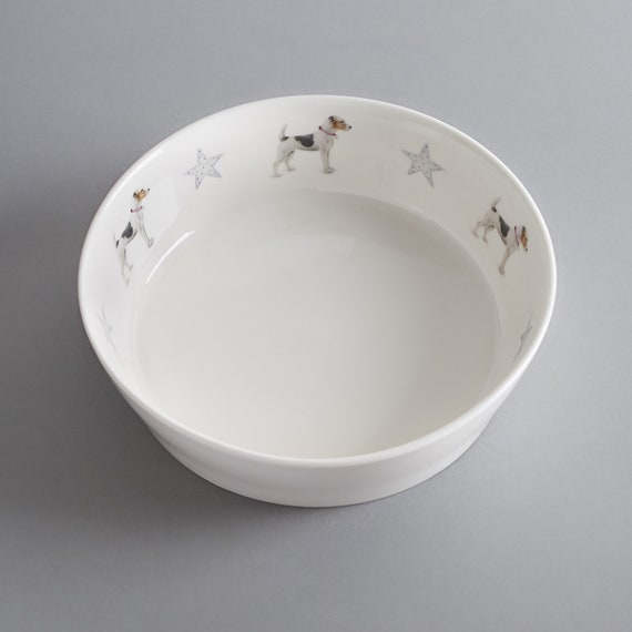 Bone china dog bowl with Jack Russell