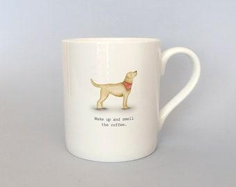 Bone china yellow lab mug.  Free P&P