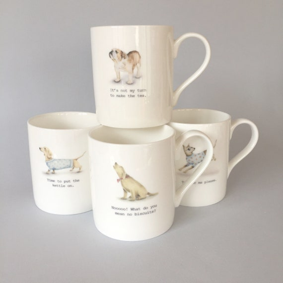 Set of four bone china mugs.  Free P&P