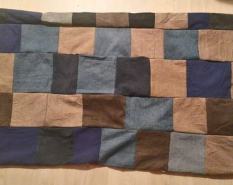 recycled denim blanket rug or picnic blanket  double faced