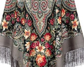 Women 39 s Authentic PAVLOVO POSAD SHAWL 146x146 cm 57x57 quot Russian Floral Extra Warm Soft 100 Wool Scarf Wrap Cape Free Shipping Gift 1789-1