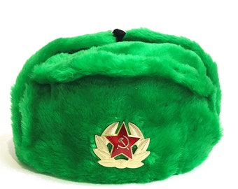 a457b96f9d9 Ushanka Winter Green Fur Authentic Russian USSR Military Army Soldier Hat  with Soviet Red Star Badge Sizes S