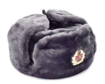 e7fd2450 Russian / USSR Army Soviet Soldier Winter Gray Fur Ushanka Hat Soviet Red  Star Badge Sizes S,M,L,XL,XXL Made in Russia Souvenir Unisex gift