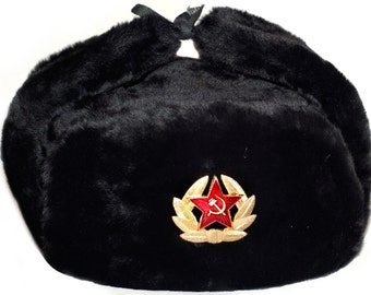58e8df22ccb Ushanka Hat Black Fur Winter Authentic Russian USSR Military Army Soldier  Hat with Soviet Red Star Badge Sizes S
