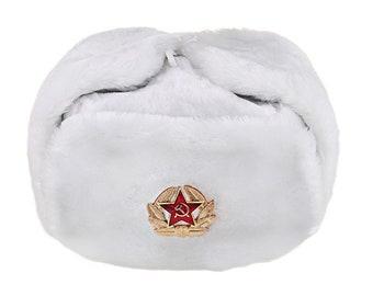 cf366f4dc13bb Russian Soviet Soldier Winter Army Fur Warm Soft Hat Ushanka White With  Soviet Badge Sizes S