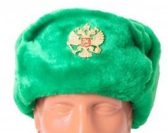 a9ccf1058b21f Ushanka Men Winter Green Fur Hat Made in Russia USSR Military Soviet Army  Soldier Russian Imperial Eagle Badge Sizes S