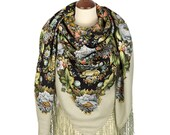 Women 39 s Elite Authentic PAVLOVO POSAD SHAWL 148x148 cm 58x58 quot Russian Floral Extra Warm Soft 100 Wool Scarf Wrap Cape Free Shipping 1798-2