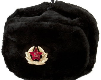 4cae3245724 Russian Soviet Soldier Winter Army Fur Warm Soft Hat Ushanka Black With  Soviet Badge Sizes S