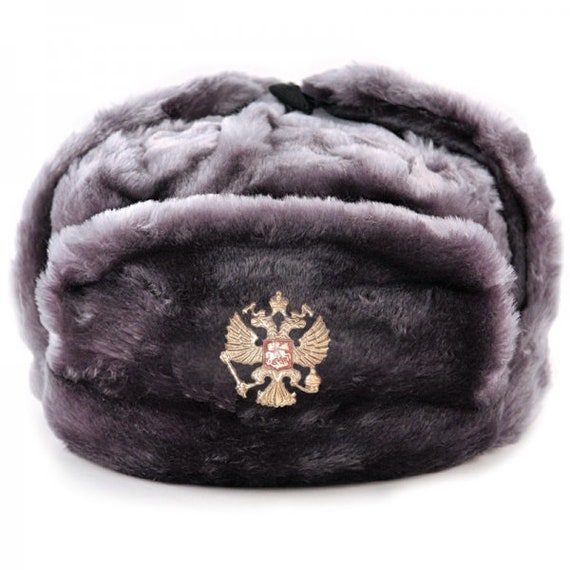 313eb740a Ushanka Men Winter Black Fur Hat Made in Russia USSR Military Soviet Army  Soldier Russian Imperial Eagle Badge Sizes S,M,L,XL,XXL Gray