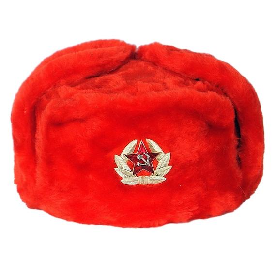 9b60c4e88da Russian Ushanka Winter Red Warm Soft Fur Hat Authentic USSR