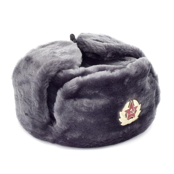 879c67d74 Russian / USSR Army Soviet Soldier Winter Gray Fur Ushanka Hat Soviet Red  Star Badge Sizes S,M,L,XL,XXL Made in Russia Souvenir Unisex gift