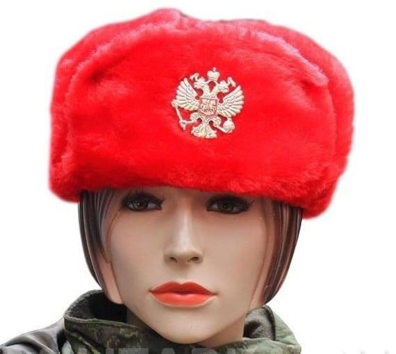 d37229b358c Ushanka Winter Red Fur Hat Made in Russia USSR Military Soviet