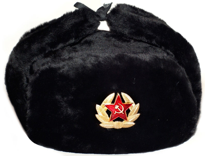 80581bbce661c Ushanka Hat Black Fur Winter Authentic Russian USSR Military