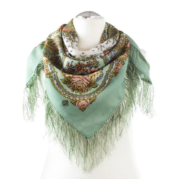 783c834495e5b PAVLOVO POSSAD châle des femmes 100 % russe écharpe en laine avec franges  de soie tricot