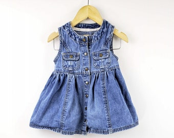6a96938a GAP Vintage 90s Overall Jumper Dress - 6-12m Blue Jean Denim Button Front -  Children Girls Kids Baby