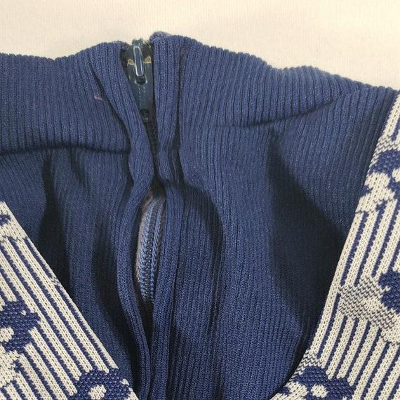 Vintage Overall Jumper Strapped Dress 3T Children Toddlers Kids Girls 5 - Navy Blue Striped Flower Floral Fooler Long Sleeve Dress