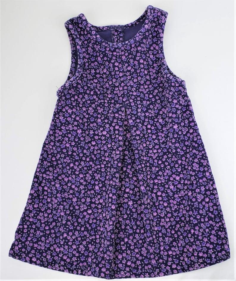 Children Girls Kids 4T Corduroy Purple Floral Pleated with Button Back OshKosh B/'Gosh Vintage 90s Jumper Dress