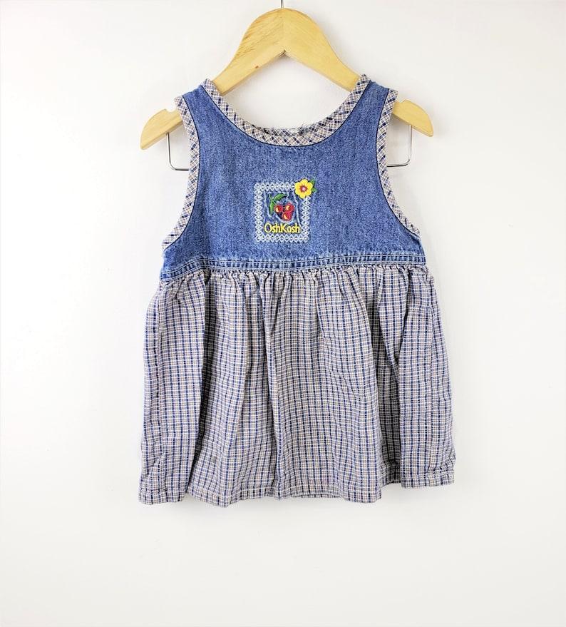 Children Girls Kids 24 Blue Jean Denim with Plaid /& Flower Cherry OshKosh B/'Gosh Dress Vintage 90s Overall Jumper