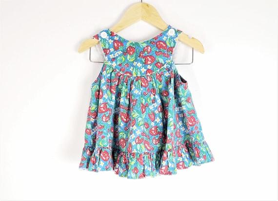 Vintage Apron Dress 18m - Strawberry Floral Print