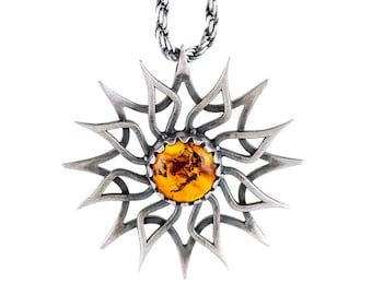 SUN Pendant Sterling Silver 925 with NATURAL AMBER.