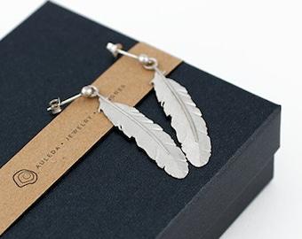FEATHER earrings Sterling Silver. Hippie earrings. Boho earrings. Feather silver. long earrings