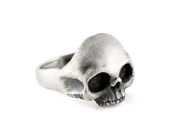 Para hombres De colección góticos De Acero Inoxidable Calavera Esqueleto Hueso mano BIKER Anillo Plateado