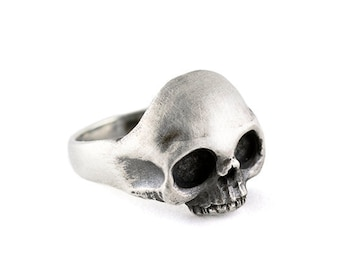 Ring SKULL Sterling Silver 925 Matte. Punk ring. Rock ring. Hipster ring.