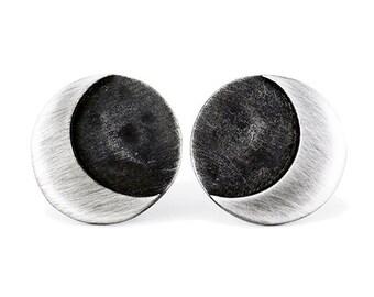 Earrings MOON Black Sterling Silver. Moon earrings. Crescent moon. Silveer moon. Half moon. Black moon