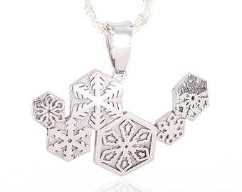 SNOW Pendant Sterling Silver 925. Chain pendant. Snowflakes pendant. Nature pendant. Silver pendant. Winter pendant.